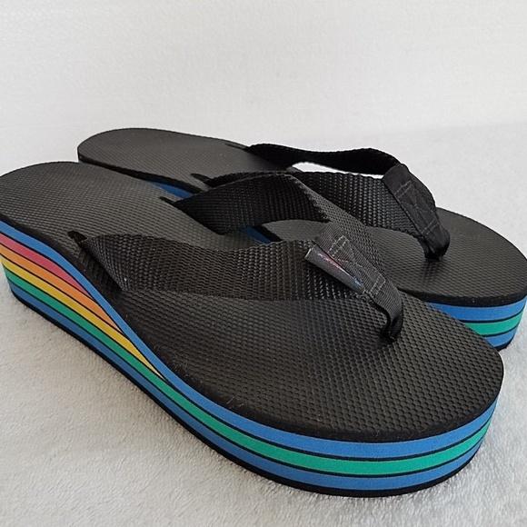 Womens Rainbow Platform Flip Flop Thong